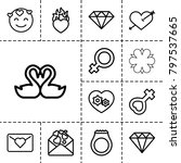 romance icons. set of 13... | Shutterstock .eps vector #797537665