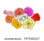 bouquet of roses imitation of... | Shutterstock .eps vector #797540227