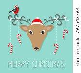 reindeeer head santa claus hat. ... | Shutterstock . vector #797543764