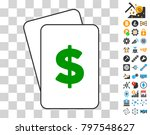 dollar playing cards pictogram...