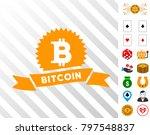 bitcoin reward ribbon icon with ...
