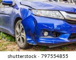 blue car  crash by accident old ... | Shutterstock . vector #797554855