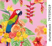 tropical seamless pattern with... | Shutterstock .eps vector #797559319