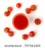 tomato juice in glass and... | Shutterstock . vector #797561305
