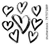 grunge hearts set. valentine... | Shutterstock .eps vector #797571889