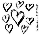 grunge hearts set. valentine... | Shutterstock .eps vector #797571895