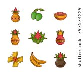 happy ugadi icons | Shutterstock .eps vector #797574229