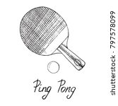 ping pong paddle and ball  hand ...   Shutterstock .eps vector #797578099