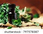 organic essential oregano oil... | Shutterstock . vector #797578387
