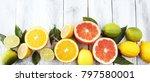 citrus background. assorted... | Shutterstock . vector #797580001