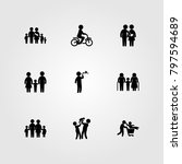 humans icon set vector. dad ... | Shutterstock .eps vector #797594689