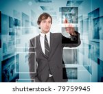 business person with virtual... | Shutterstock . vector #79759945