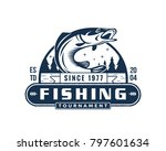 vintage monotone summer fishing ... | Shutterstock .eps vector #797601634