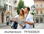 couple with map on travel... | Shutterstock . vector #797602825