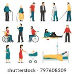 set of disabled people... | Shutterstock . vector #797608309