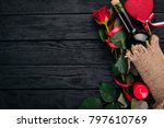 a bottle of red wine and a... | Shutterstock . vector #797610769