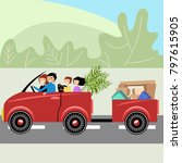 family traveling by car with a... | Shutterstock .eps vector #797615905