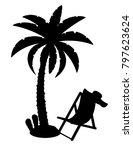 palm tree black outline...   Shutterstock .eps vector #797623624