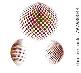 set of abstract round 3d... | Shutterstock .eps vector #797630044
