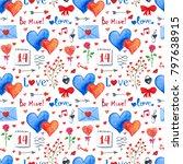 watercolor valentines day... | Shutterstock . vector #797638915