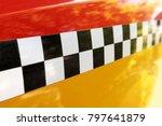 checkered yellow taxi cab....   Shutterstock . vector #797641879