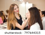 make up artist doing... | Shutterstock . vector #797644315