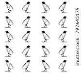 black and white quail seamless...   Shutterstock .eps vector #797645179