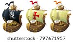 Vector Set Of Ships Isolated O...