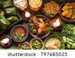 Small photo of Nasi Tutug Oncom. Traditional Sundanese meal of rice mixed with fermented soybean; accompanied with fried chicken, tempeh, tofu, salted fish, vegetables dishes, chili paste and crackers.