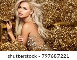 beautiful blonde woman in... | Shutterstock . vector #797687221