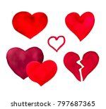 red herats set isolated on... | Shutterstock . vector #797687365