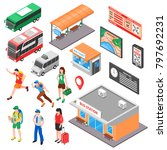 bus terminal isometric set with ... | Shutterstock . vector #797692231