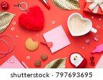 valentines day background. top... | Shutterstock . vector #797693695
