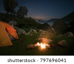 camping with fire at night | Shutterstock . vector #797696041