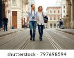 travel. tourist couple... | Shutterstock . vector #797698594