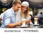 beautiful happy couple in... | Shutterstock . vector #797698681