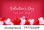 soft red banner with heart... | Shutterstock .eps vector #797701009