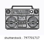 hand drawn retro boom box   Shutterstock .eps vector #797701717
