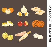 indian sweets icons isolated on ... | Shutterstock .eps vector #797705629