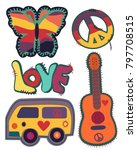 hippie vintage embroidery... | Shutterstock .eps vector #797708515