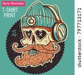 skull of hipser in headphones.... | Shutterstock .eps vector #797713171