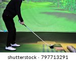 a man is playing golf at  ... | Shutterstock . vector #797713291