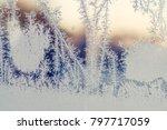 frozen window in the winter on... | Shutterstock . vector #797717059