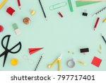school creative desk with... | Shutterstock . vector #797717401