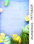 easter background with multi... | Shutterstock . vector #797718229
