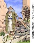 abraham sacrifices isaac | Shutterstock . vector #797718604