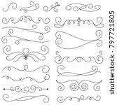 collection of hand drawn swirls ... | Shutterstock .eps vector #797721805