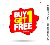 buy 1 get 1 free  sale tag ... | Shutterstock .eps vector #797722855