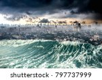 conceptual nature disaster city ... | Shutterstock . vector #797737999