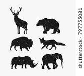 Stock vector rustic animal bundle vector bear deer bison fox rhino elephant vector 797755081